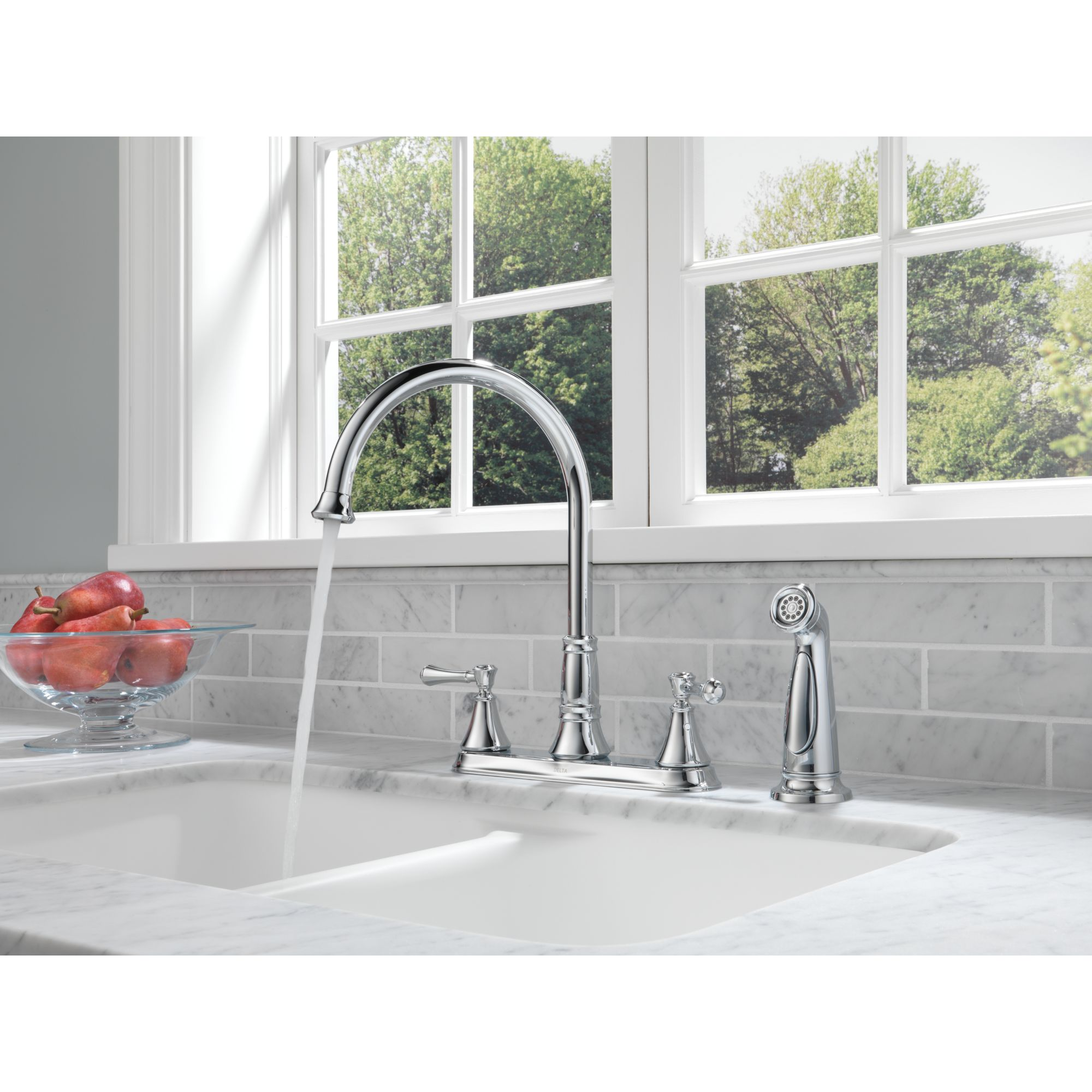 kitchen bathroom faucets all on sale in july kitchen faucet sale Delta CASSIDY Two Handle Kitchen Faucet with Spray