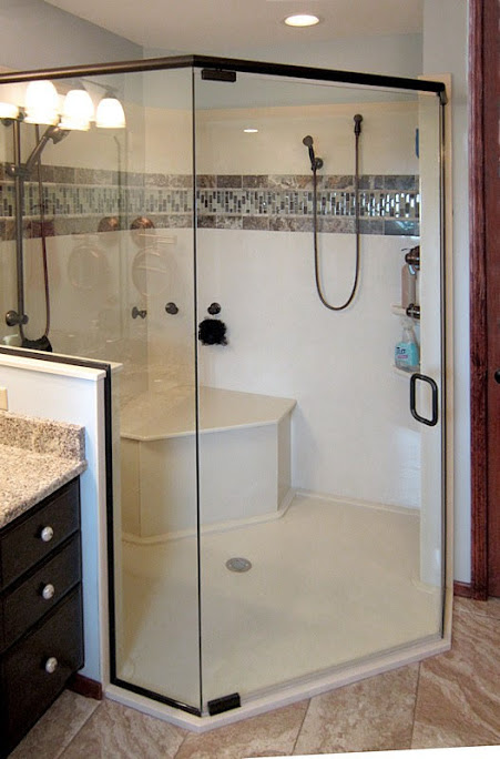 custom shower with bench