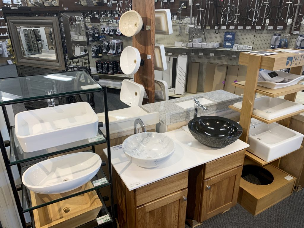 Vessel Sinks on display in showroom