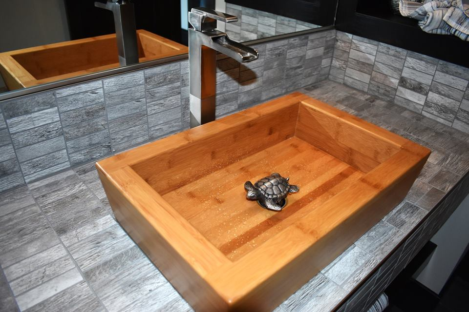 Bamboo vessel sink with turtle drain stopper